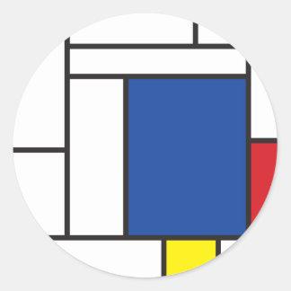 Mondrian Minimalist De Stijl Modern Art Simple Round Sticker