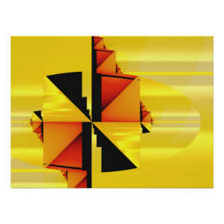 Mondrian Modern Abstract Fractal Art Poster