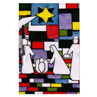 Mondrian Nativity - De Stijl - Neoplasticism Dry Erase Board
