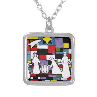 Mondrian Nativity - De Stijl - Neoplasticism Silver Plated Necklace