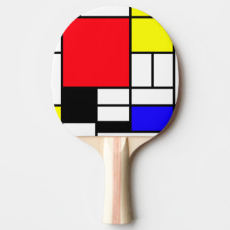 Mondrian Ping Pong Paddle, Red Rubber Back Ping Pong Paddle