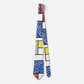 Mondrian Scribbles Minimalist De Stijl Art Tie