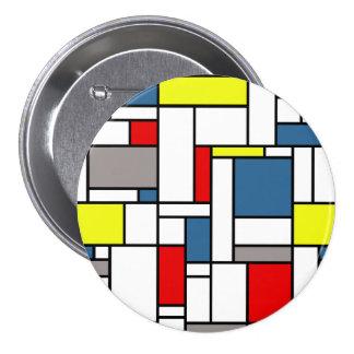 Mondrian style design 3 inch round button