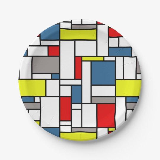 Mondrian style design 7 inch paper plate