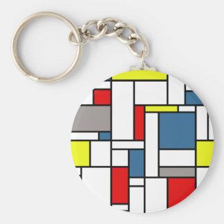 Mondrian style design basic round button keychain