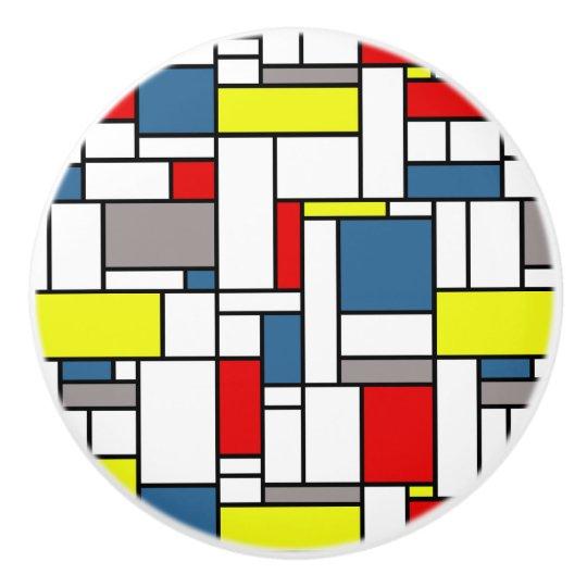 Mondrian style design ceramic knob