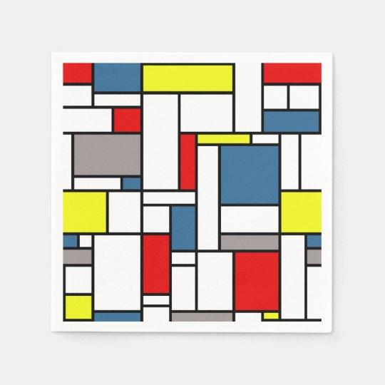 Mondrian style design disposable napkin