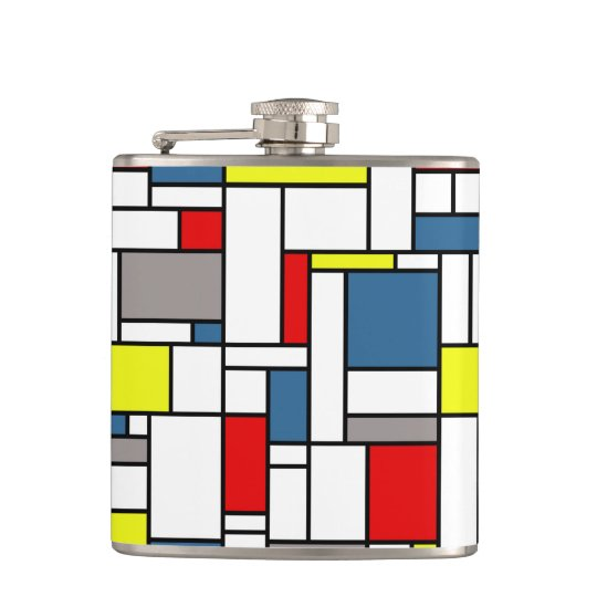 Mondrian style design hip flask