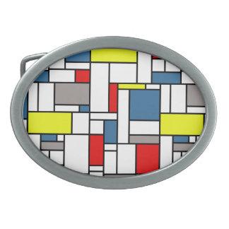 Mondrian style design oval belt buckle