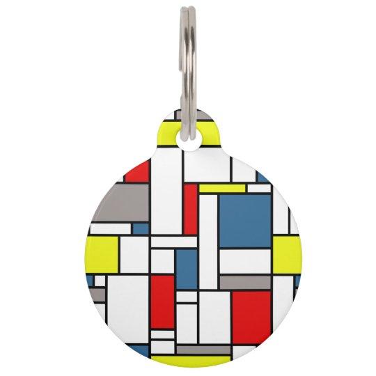 Mondrian style design pet ID tag