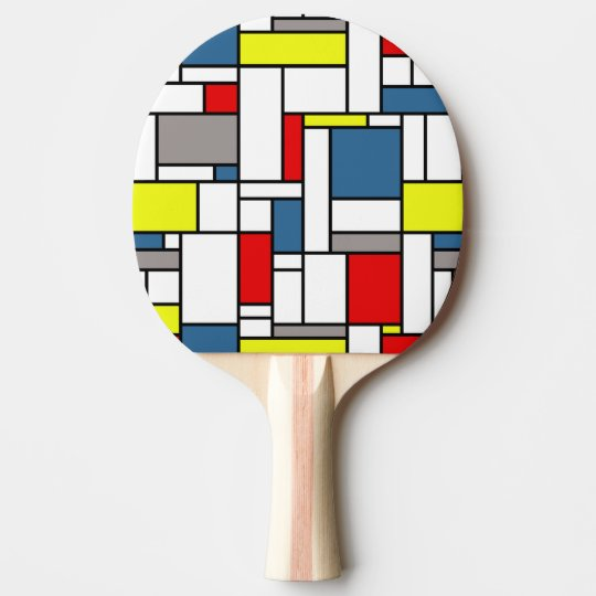 Mondrian style design ping pong paddle