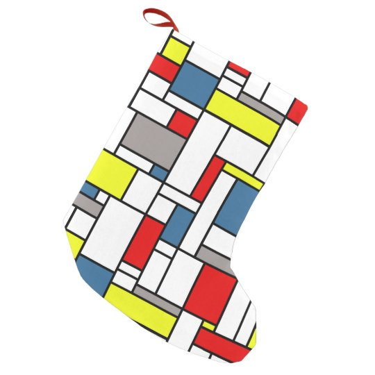 Mondrian style design small christmas stocking