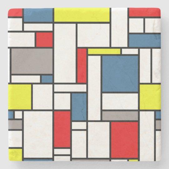 Mondrian style design stone beverage coaster