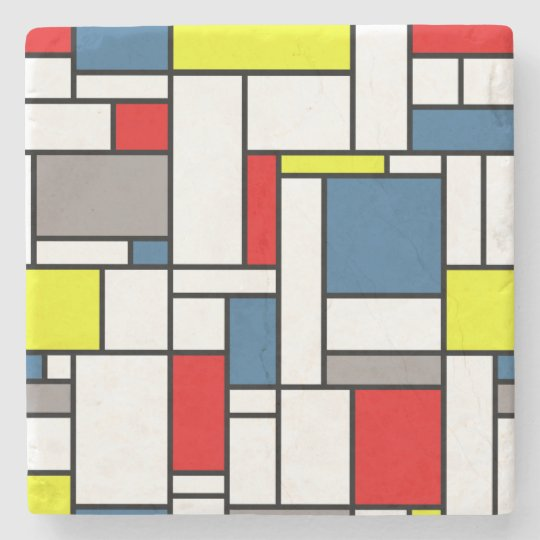 Mondrian style design stone coaster