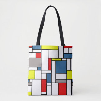 Mondrian style design tote bag