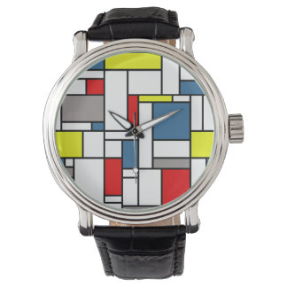 Mondrian style design wristwatches
