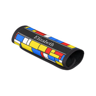 Mondrian Style Red Blue Yellow Black Name Monogram Luggage Handle Wrap
