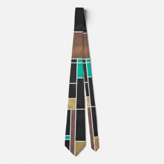 Mondrian Teal Brown Black Print Tie