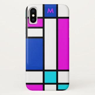 Mondrian Violet Purple Blue iPhone X Case