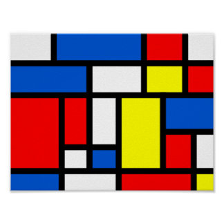 Mondrian Yellow Red Blue Poster
