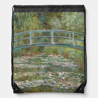 Monet Art Bridge over a Pond of Water Lilies Drawstring Bag
