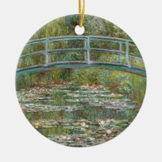 Monet Art Bridge over a Pond of Water Lilies Round Ceramic Ornament