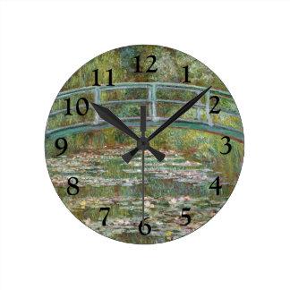 Monet Art Bridge over a Pond of Water Lilies Round Clock