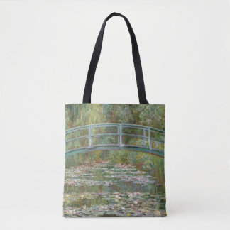 Monet Art Bridge over a Pond of Water Lilies Tote Bag