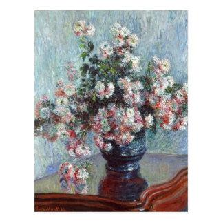 Monet Chrysanthemums Vintage Floral Impressionism Postcard