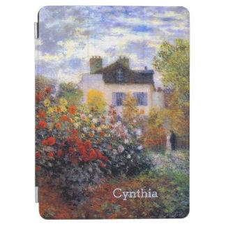 Monet dans le coin du jardin avec des dahlias protection iPad air