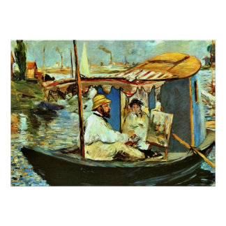 Monet in his Floating Studio Boat by Edouard Manet Poster