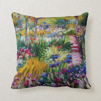 Monet Iris Garden Throw Pillow