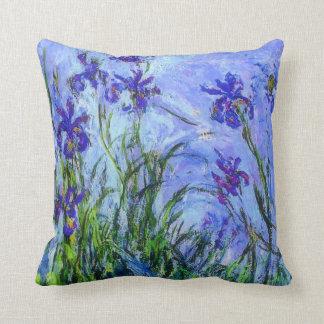 Monet - Lilac Irises Throw Pillow