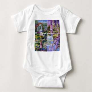 Monet message about flowers. baby bodysuit