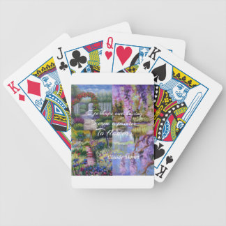 Monet message about flowers. bicycle playing cards
