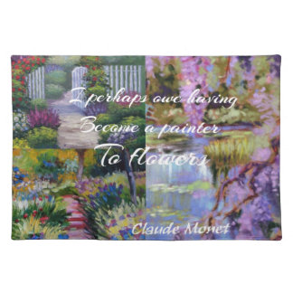 Monet message about flowers. placemat