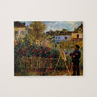 Monet painting in his garden by Claude Monet Jigsaw Puzzle