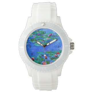 Monet painting: Water Lilies, Red artwork Wrist Watch