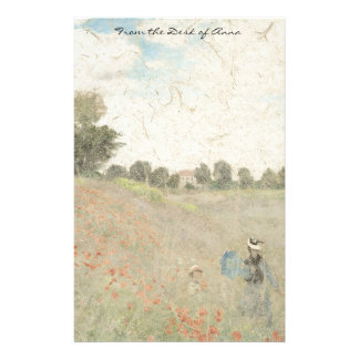Monet Poppies Wildflowers Impressionism Stationery
