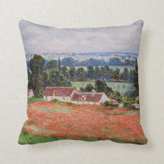 Monet - Poppy Field at Giverny Throw Pillow