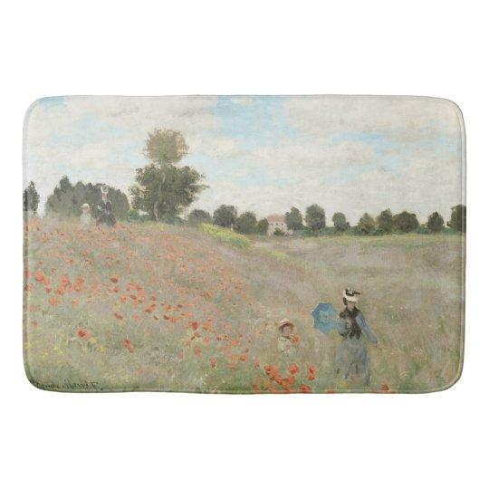 Monet Poppy Field Flowers Impressionism Bath Mat