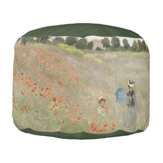 Monet Poppy Field Impressionism Pouf Pillow