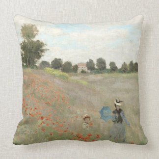 Monet Poppy Field Impressionism Throw Pillow