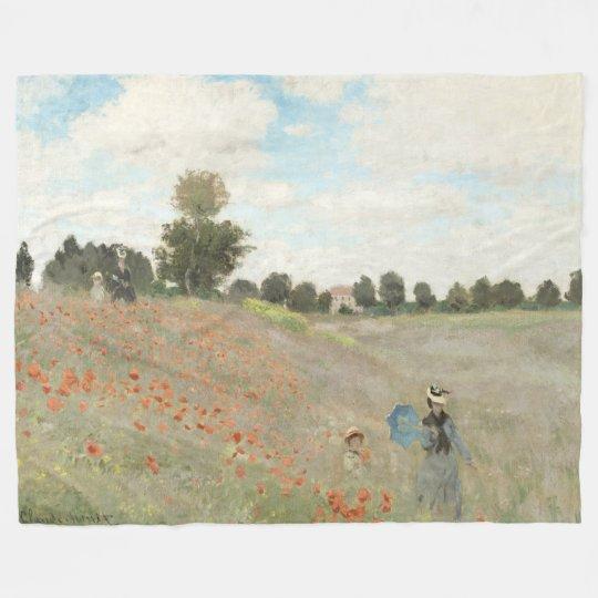 Monet Poppy Field Wildflowers Fleece Blanket