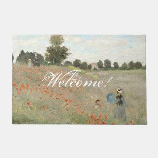 Monet Poppy Flowers Impressionism Welcome Doormat