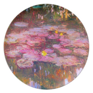 Monet Purple Water Lilies Plate