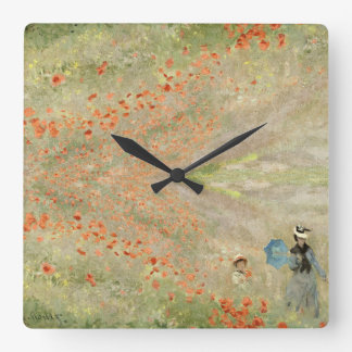 Monet Red Poppies Meadow Wildflowers Wall Clock