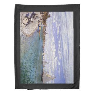 Monet Regatta Sailboats Beach Sea Duvet Cover