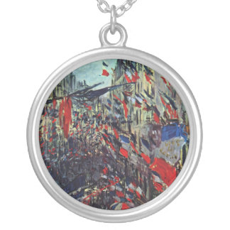 Monet - Rue Saint-Denis on the National Holiday Silver Plated Necklace