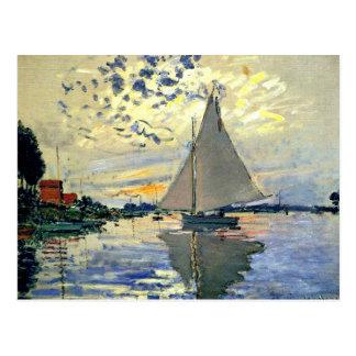 Monet - Sailboat at Le Petit-Gennevilliers Postcard